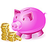 money-box pig and gold coins