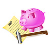 Vector clipart: money-box pig hammer and bill