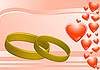 Vector clipart: rings on the pink background and hearts
