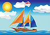 Vector clipart: ship with sails at the sea side