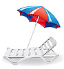 Vector clipart: beach umbrella and deck-chair