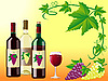 wine with grapes and decorative corner of leaves