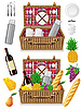Photo 300 DPI: basket for picnic with tableware and foods