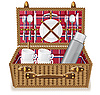 basket for picnic with tableware