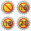 Vector clipart: beer lids with prohibition on age signs