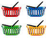 coloured shopping baskets