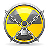 Vector clipart: lock with chains on sign radiation
