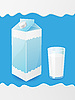Vector clipart: milk in package and glass