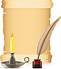 Vector clipart: old paper, candle and feather with inks