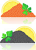 Vector clipart: red and black caviar with lemon and parsley