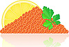 Vector clipart: red caviar with lemon and parsley