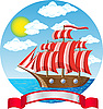 Vector clipart: old wooden sailing vessel at the sea