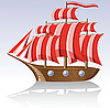 Vector clipart: old wooden sailing vessel