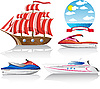 Vector clipart: set of icons marine transport