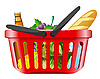Shopping basket with foods | Stock Vector Graphics