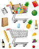 Photo 300 DPI: shopping cart with purchases and foods