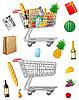 购买食品的购物车 | 光栅插图