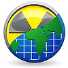 Vector clipart: sign radiation and map of planet