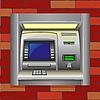Векторный клипарт: банкомат в кирпичной стене
