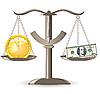 Векторный клипарт: весы выбора времени деньги