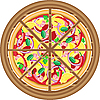 Vector clipart: pizza cut on wooden board