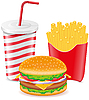 cheeseburger, fries potato and paper cup with soda