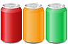 Vector clipart: coloured aluminum cans with soda