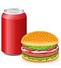 hamburger and aluminum cans with soda