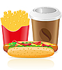 hotdog, fries potato and paper cup with coffee