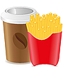 paper cup with coffee and fries potato