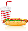 Vector clipart: paper cup with soda and hotdog