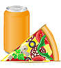 pizza and aluminum can with soda