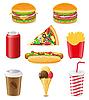 Set de comida rápida | Ilustración vectorial