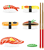 Vector clipart: sushi set icons