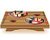 suchi served on wooden table