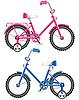 Векторный клипарт: розовый и голубой дети велосипед