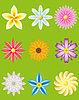 Vector clipart: icon set of flowers for design