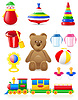 Vector clipart: icons of toys and accessories for babies and children