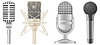 Vector clipart: icon set of microphones