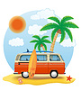 Vector clipart: retro minivan with surfboard on beach