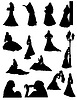 Vector clipart: bride realistic silhouette set icons