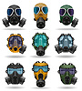 Vector clipart: set icons gas mask