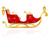 Vector clipart: red christmas sleigh of santa claus