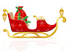 Vector clipart: red christmas sleigh of santa claus with gifts