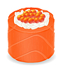 Vector clipart: sushi rolls in red fish