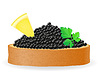 Vector clipart: sandwich with black caviar lemon and parsley