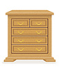 Vector clipart: old retro wooden furniture chest of drawers