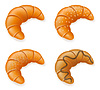 Vector clipart: set icons of fresh crispy croissants