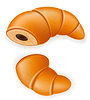 Vector clipart: crispy croissant with broken chocolate filling