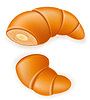 Vector clipart: crispy croissant with broken cream or condensed mil